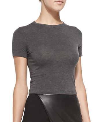 Short-Sleeve Crewneck Crop Top