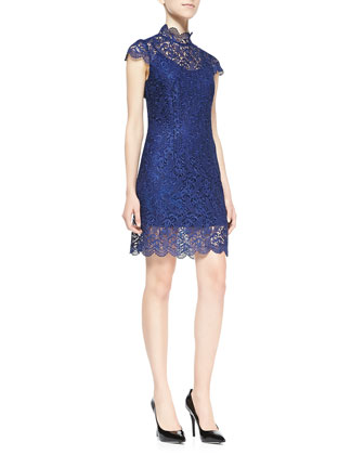 Filigree-Lace Mock Turtleneck Dress, Navy