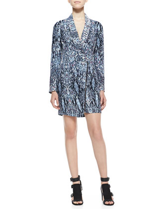 Asymmetric Abstract-Print Zip Dress, Blue