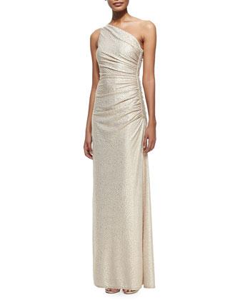 One-Shoulder Foil-Embossed Gown