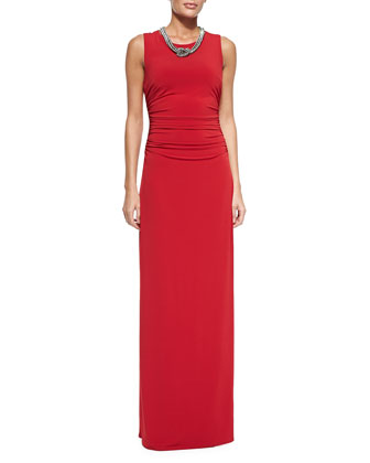 Sleeveless Beaded-Neck Jersey Gown