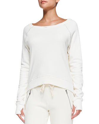 Annie High-Low Perforated Sweatshirt
