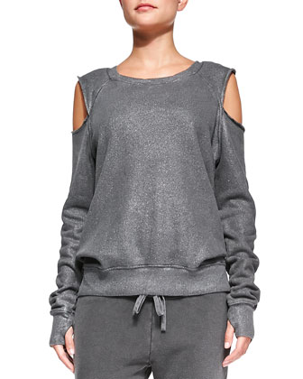 Open-Shoulder Shimmery Knit Sweatshirt & Betsee Drawstring-Waist Cropped Pants