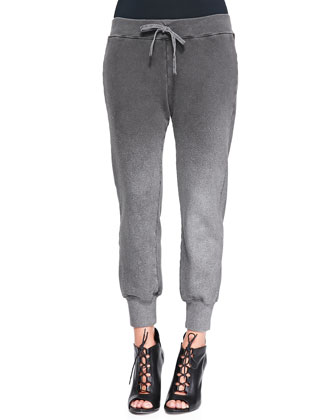 Betsee Drawstring-Waist Cropped Pants, Charcoal