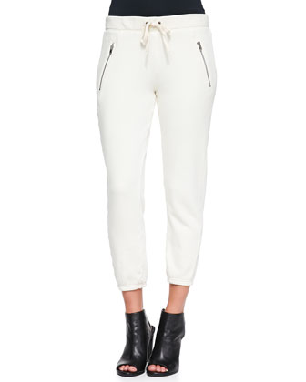 Betsee Drawstring-Waist Cropped Pants, Vanilla Bean