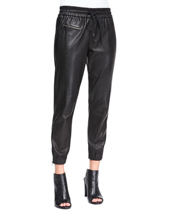 Drawstring-Waist Leather Track Pants