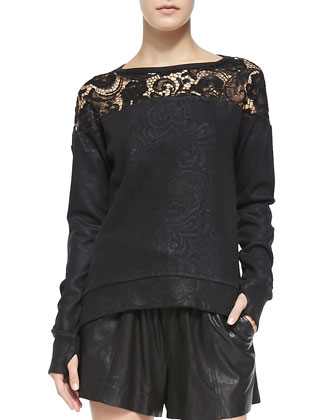 Coated Lace Sweatshirt W/ Thumb Holes