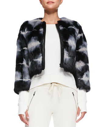 Tie-Dye Cropped Fur Jacket, Annie High-Low Perforated Sweatshirt & Betsee ...