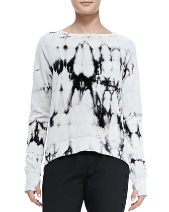 High-Low Abstract-Print Velour Sweatshirt