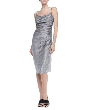 Sleeveless Foil-Knit Cocktail Dress
