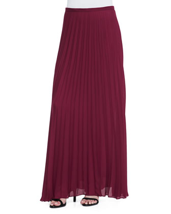 Pleated Chiffon Maxi Skirt, Wine