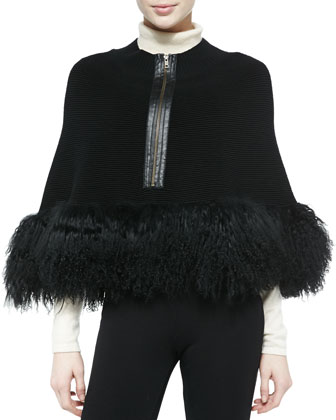 Captivating Fur-Hem Cape