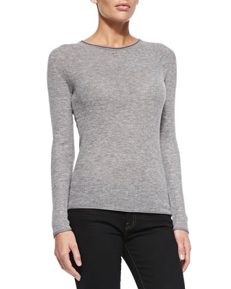Carly Ribbed Long-Sleeve Sweater, Gray