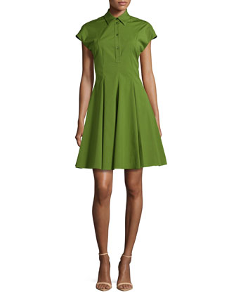 Stretch-Cotton Shirtdress, Grass