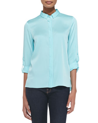 Elaine Long-Sleeve Stretch-Silk Blouse
