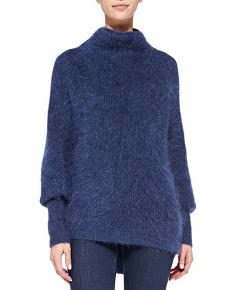 Dorene Mock-Neck Cape-Sleeve Sweater