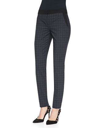 Alanis Plaid Ankle Pants, Navy