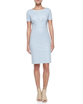 Kathleen Short-Sleeve Diagonal-Pleat Dress