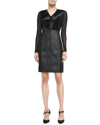 Lane Combo Calf Hair & Leather Sheath Dress