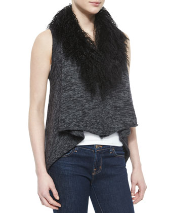 Stassi Lamb Fur-Collar Knit Sweater