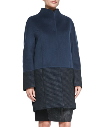Dalia Double-Breast Hidden-Placket Coat