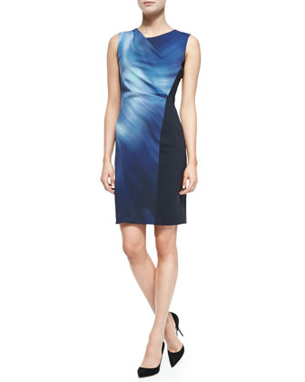 Amymarie Sleeveless Swirl-Front Dress