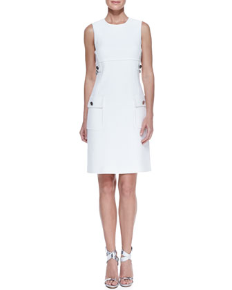 Chain-Detail Pocket Sheath Dress, White