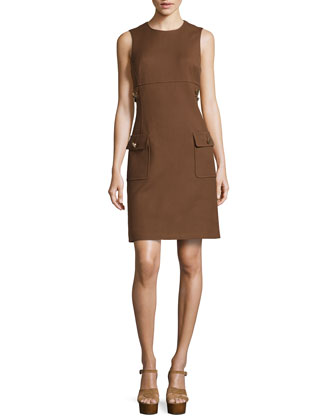 Chain-Detail Pocket Sheath Dress, Nutmeg