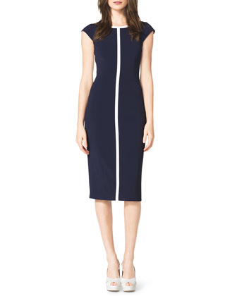 Contrast Cap-Sleeve Sheath Dress, Indigo