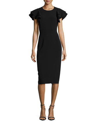 Ruffle-Sleeve Crepe Sheath Dress, Black