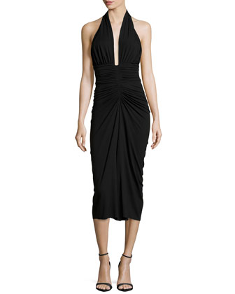 Halter Ruched Jersey Dress