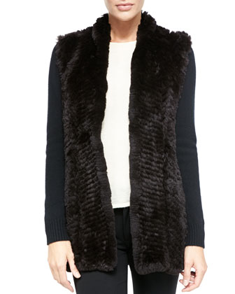 NM EXCLUSIVE Fur Front Cashmere Cardigan