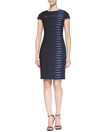 Dakota Mesh-Sleeve Sheath Dress