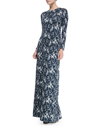 Stormy Long-Sleeve Printed Maxi Dress, Women's