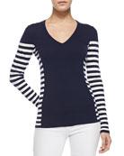 Adelaide V-Neck Striped Sweater