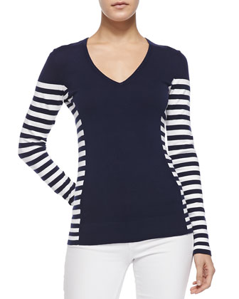 Adelaide V-Neck Striped Sweater