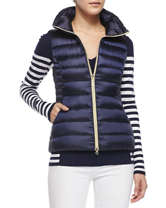 Adelaide V-Neck Striped Sweater & Allie Zip Puffer Vest