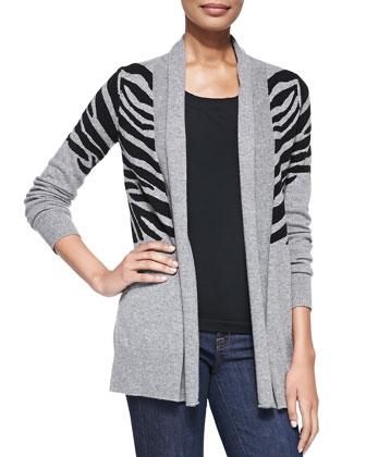 Zebra Intarsia Cashmere Cardigan