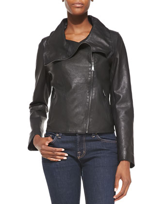 Ingrid Leather Asymmetric-Zip Moto Jacket, Oskana Long-Sleeve Knit Top & ...