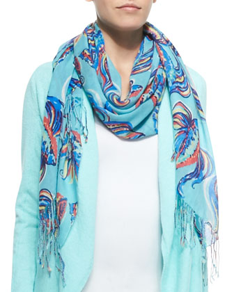 Murfee Silk-Cashmere Print Scarf