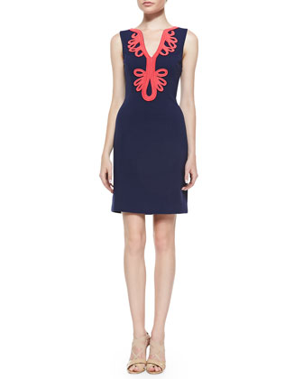 Janice Ottoman Dress with Soutache Trim