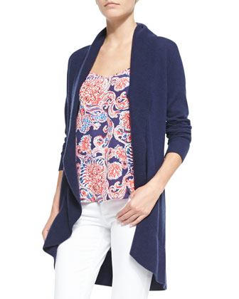 Linsday Cashmere Cardigan, Navy