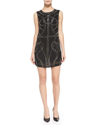 Angelica Sleeveless Beaded Mini Dress