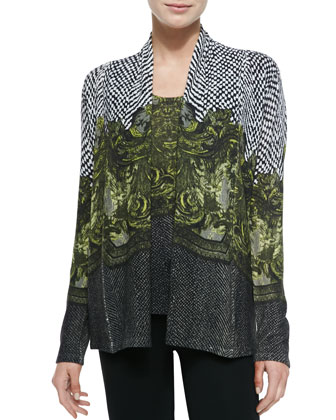 Scroll-Print Cashmere Cardigan