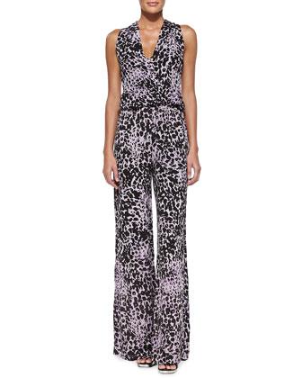 Ines Sleeveless Leopard-Print Jumpsuit