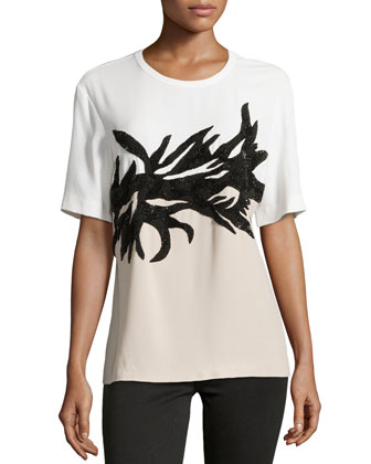 Botany Applique T-Shirt, Ivory