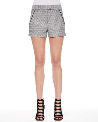 Tweed Piped-Pocket Shorts