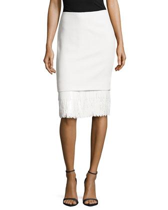 Sequin Fringe Hem Skirt, Ivory
