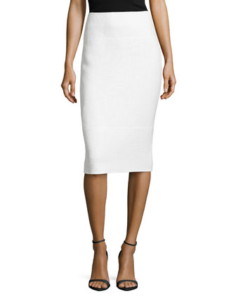 Coated No Waist Pencil Skirt, White