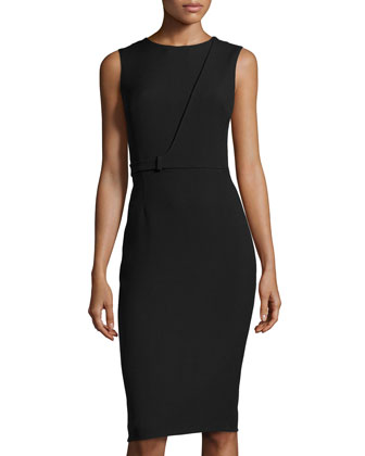 Cascade Fitted Sheath Dress, Black